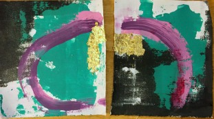 equilibrium two panel acrylic, gold leaf, on canvas