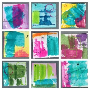 "small works on paper 4 x 4"" each SOLD"
